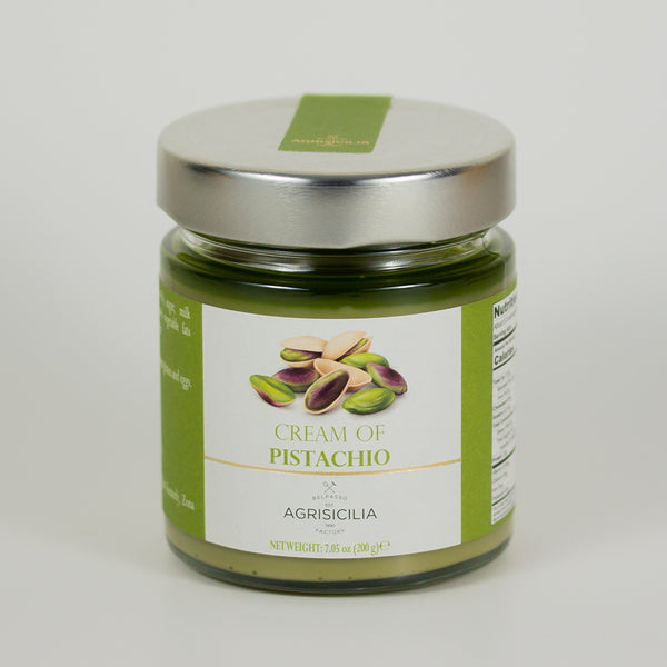 Cream of Pistachio Agrisicilia, front of the jar