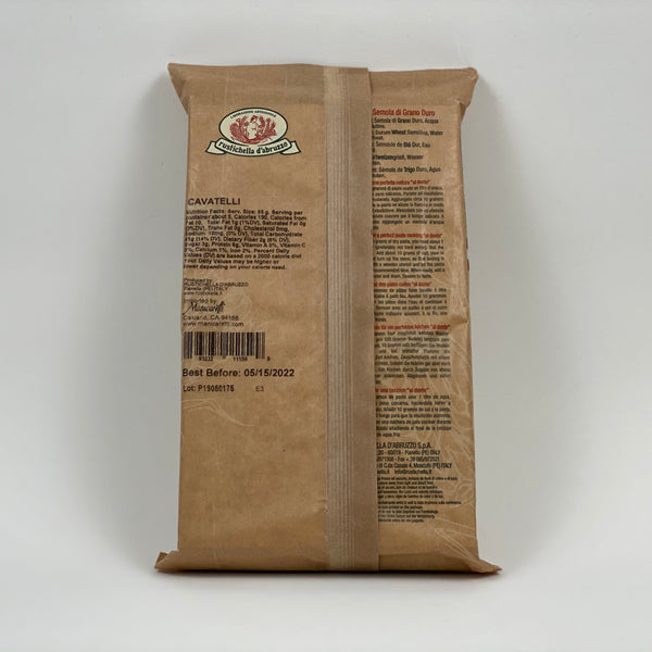 cavatelli rustichella dabruzzo back of pack, includes nutrition factsage