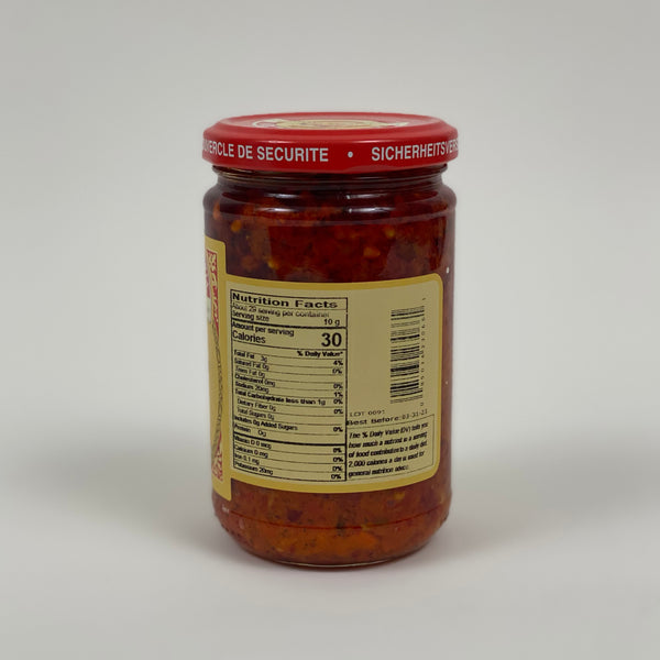 tutto calabrian chili crushed in oil, back of bottle, nutrition facts