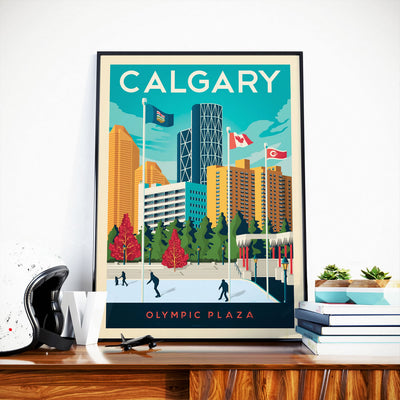 Affiche Calgary Vintage | Poster Ville Calgary Alberta Canada - Olahoop Travel Posters