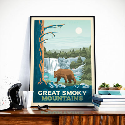 Affiche Vintage Great Smoky Mountains National Park | Poster Retro Paysage Etats-Unis | Montagne | Nature - Olahoop Travel Posters