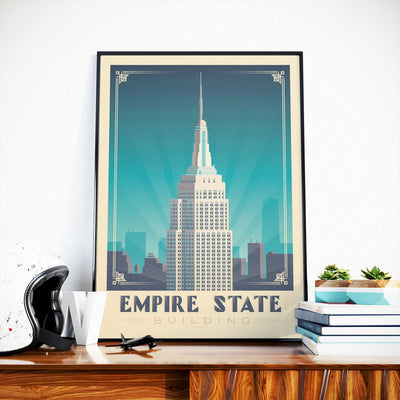 Affiche New York Vintage | Poster Ville New York Empire State Building États-Unis - Olahoop Travel Posters