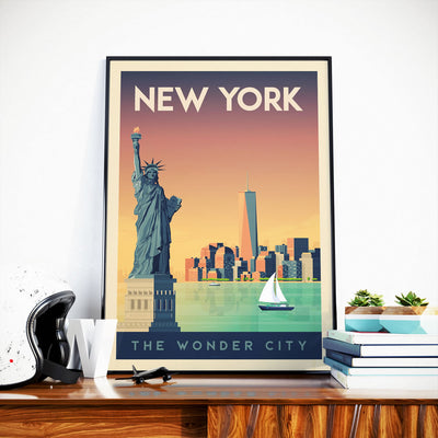 Affiche New York Vintage | Poster Ville New York États-Unis - Olahoop Travel Posters