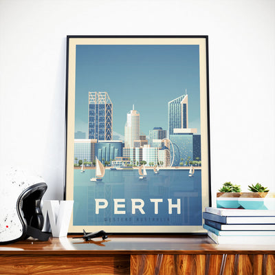 Affiche Perth Vintage | Poster Ville Perth Australie | Queensland - Olahoop Travel Posters