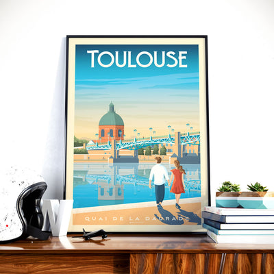 Affiche Toulouse Vintage | Poster Ville Toulouse Occitanie France - Olahoop Travel Posters