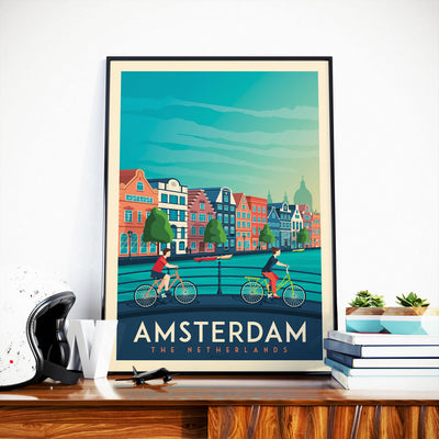 Affiche Amsterdam Vintage | Poster Ville Amsterdam Pays-Bas - Olahoop Travel Posters