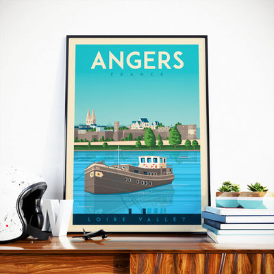 Affiche Angers Vintage | Poster Ville Angers France - Olahoop Travel Posters