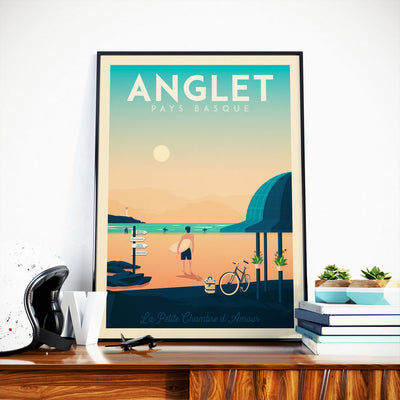 Affiche Anglet Vintage | Poster Ville Anglet Pays Basque France - Olahoop Travel Posters