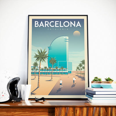 Affiche Barcelone Vintage | Poster Ville Barcelone Hotel W Catalogne Espagne - Olahoop Travel Posters