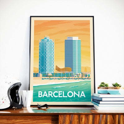 Affiche Barcelone Vintage | Poster Ville Barcelone Catalogne Espagne - Olahoop Travel Posters