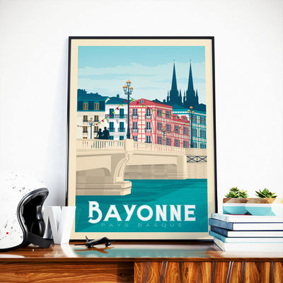 Affiche Bayonne Vintage | Poster Ville Bayonne Pays-Basque France - Olahoop Travel Posters