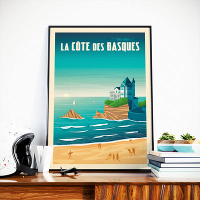 Affiche Biarritz Vintage | Poster Ville Biarritz Pays Basque France - Olahoop Travel Posters