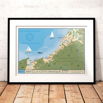 Affiche Carte Côte Basque Vintage | Poster Plan Côte Basque France - Olahoop Travel Posters