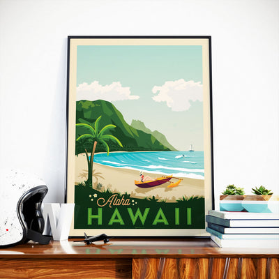 Affiche Hawaii Vintage | Poster Ile Hawaii États-Unis - Olahoop Travel Posters