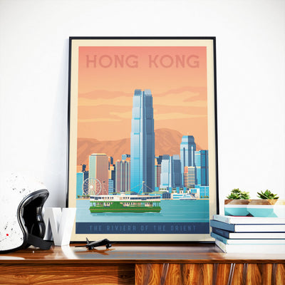 Affiche Hong Kong Vintage | Poster Ville Hong Kong Asie - Olahoop Travel Posters
