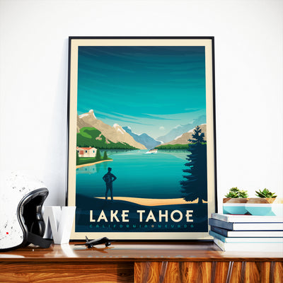 Affiche Lake Tahoe Vintage | Poster Parc National Lake Tahoe Californie États-Unis - Olahoop Travel Posters