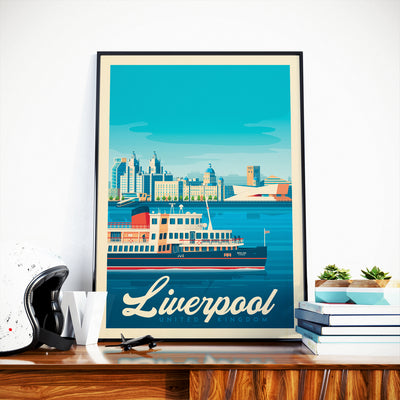 Affiche Liverpool Vintage | Poster Ville Liverpool Royaume-Uni - Olahoop Travel Posters