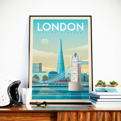 Affiche Londres Vintage | Poster Ville Londres Tower Bridge Royaume-Uni - Olahoop Travel Posters