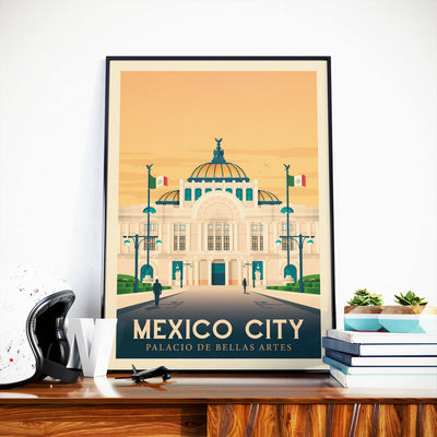 Affiche Mexico Vintage | Poster Ville Mexico Mexique - Olahoop Travel Posters