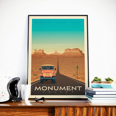 Affiche Monument Valley Vintage | Poster Parc National Monument Valley États-Unis - Olahoop Travel Posters