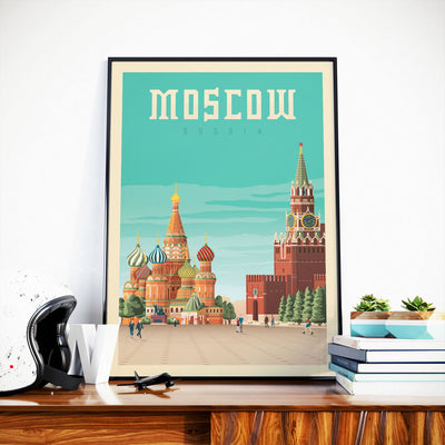 Affiche Moscou Vintage | Poster Moscou Russie - Olahoop Travel Posters