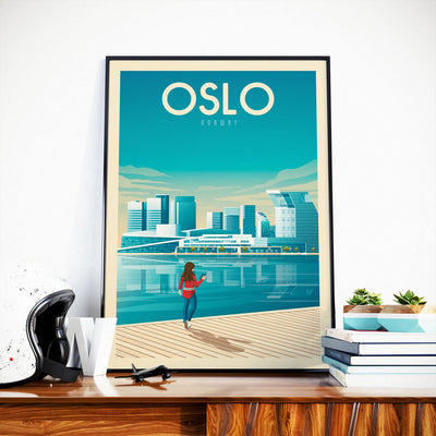 Affiche Oslo Vintage | Poster Ville Oslo Norvège - Olahoop Travel Posters