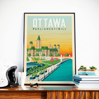Affiche Ottawa Vintage | Poster Ville Ottawa Ontario Canada - Olahoop Travel Posters