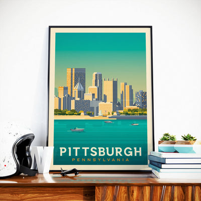 Affiche Pittsburgh Vintage | Poster Ville Pittsburgh Pennsylvanie États-Unis - Olahoop Travel Posters