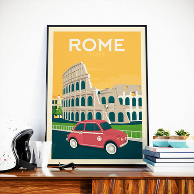 Affiche Rome Vintage | Poster Ville Rome Italie - Olahoop Travel Posters