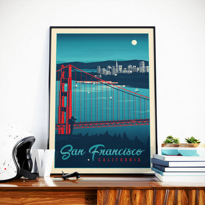 Affiche San Francisco Vintage | Poster Ville San Francisco Californie États-Unis | Golden Gate Bridge - Olahoop Travel Posters