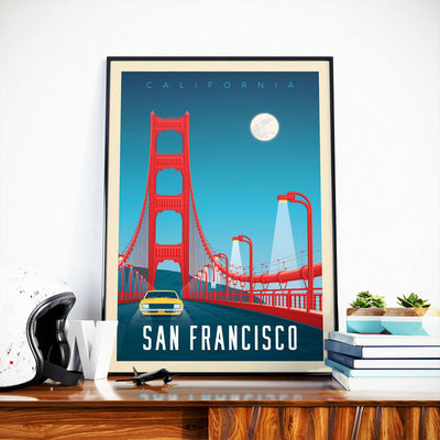 Affiche San Francisco Vintage | Poster Ville San Francisco Golden Gate Bridge Californie États-Unis - Olahoop Travel Posters