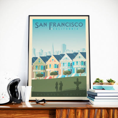 Affiche San Francisco Vintage | Poster Ville San Francisco Painted Ladies Californie États-Unis - Olahoop Travel Posters