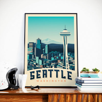 Affiche Seattle Vintage | Poster Ville Seattle Washington Etats-Unis | Tour Space Needle - Olahoop Travel Posters