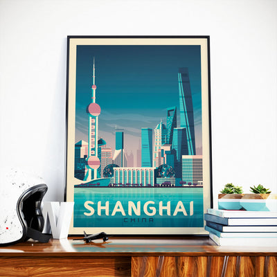 Affiche Shanghai Vintage | Poster Ville Shanghai Chine - Olahoop Travel Posters