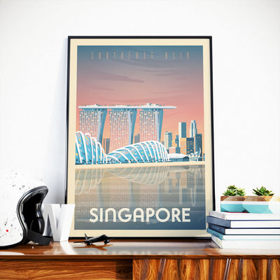 Affiche Singapour Vintage | Poster Ville Singapour Asie - Olahoop Travel Posters