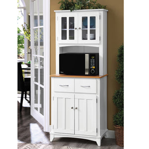 White and Cherry Microwave Storage Stand with Double Door Top and Bottom Cabinets