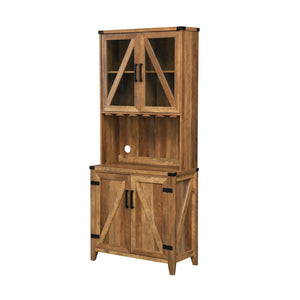 Bar Cabinet with Upper Glass Cabinet and Reclaimed Barn Wood Finish