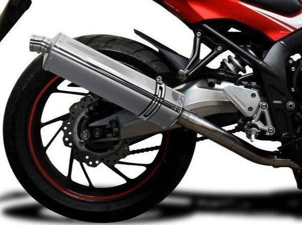 "DELKEVIC Honda CB650F / CBR650F Full Exhaust System with Stubby 17"" Tri-Oval Silencer"