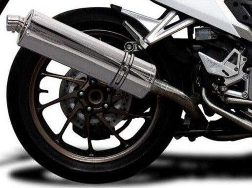 "DELKEVIC Honda VFR800X / VFR800F Full Exhaust System with Stubby 18"" Silencer"