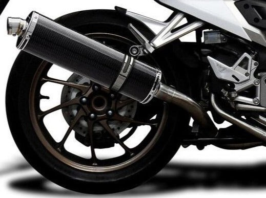 "DELKEVIC Honda VFR800X / VFR800F Full Exhaust System with Stubby 18"" Carbon Silencer"