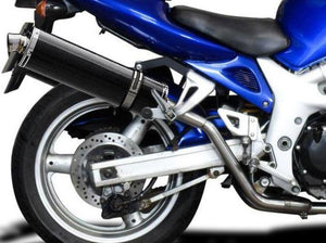 "DELKEVIC Suzuki SV650 (99/02) Full Exhaust System with High Mount Stubby 18"" Carbon Silencers"