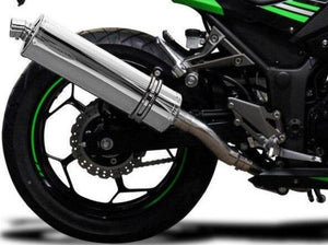 "DELKEVIC Kawasaki Ninja 300 Full Exhaust System with Stubby 18"" Silencer"