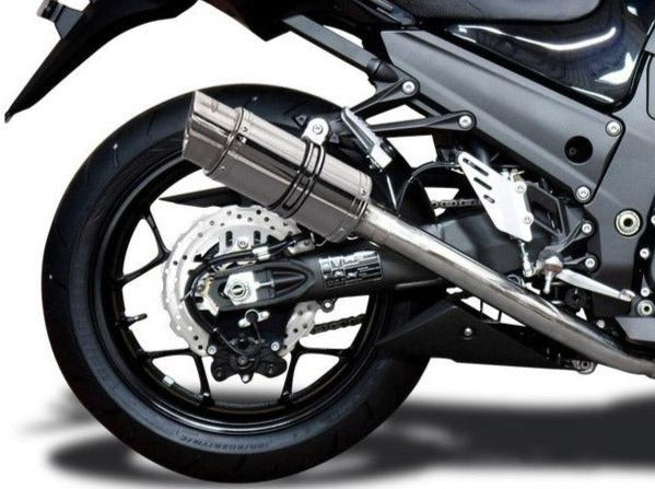 "DELKEVIC Kawasaki Ninja ZX-14R Full Exhaust System with Mini 8"" Silencers"