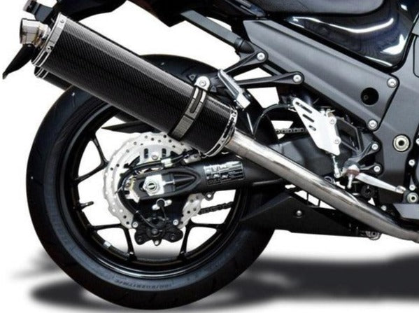 "DELKEVIC Kawasaki Ninja ZX-14R Full Exhaust System with Stubby 18"" Carbon Silencers"