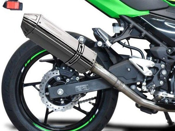 "DELKEVIC Kawasaki Ninja 400 / Z400 Full Exhaust System with 13"" Tri-Oval Silencer"