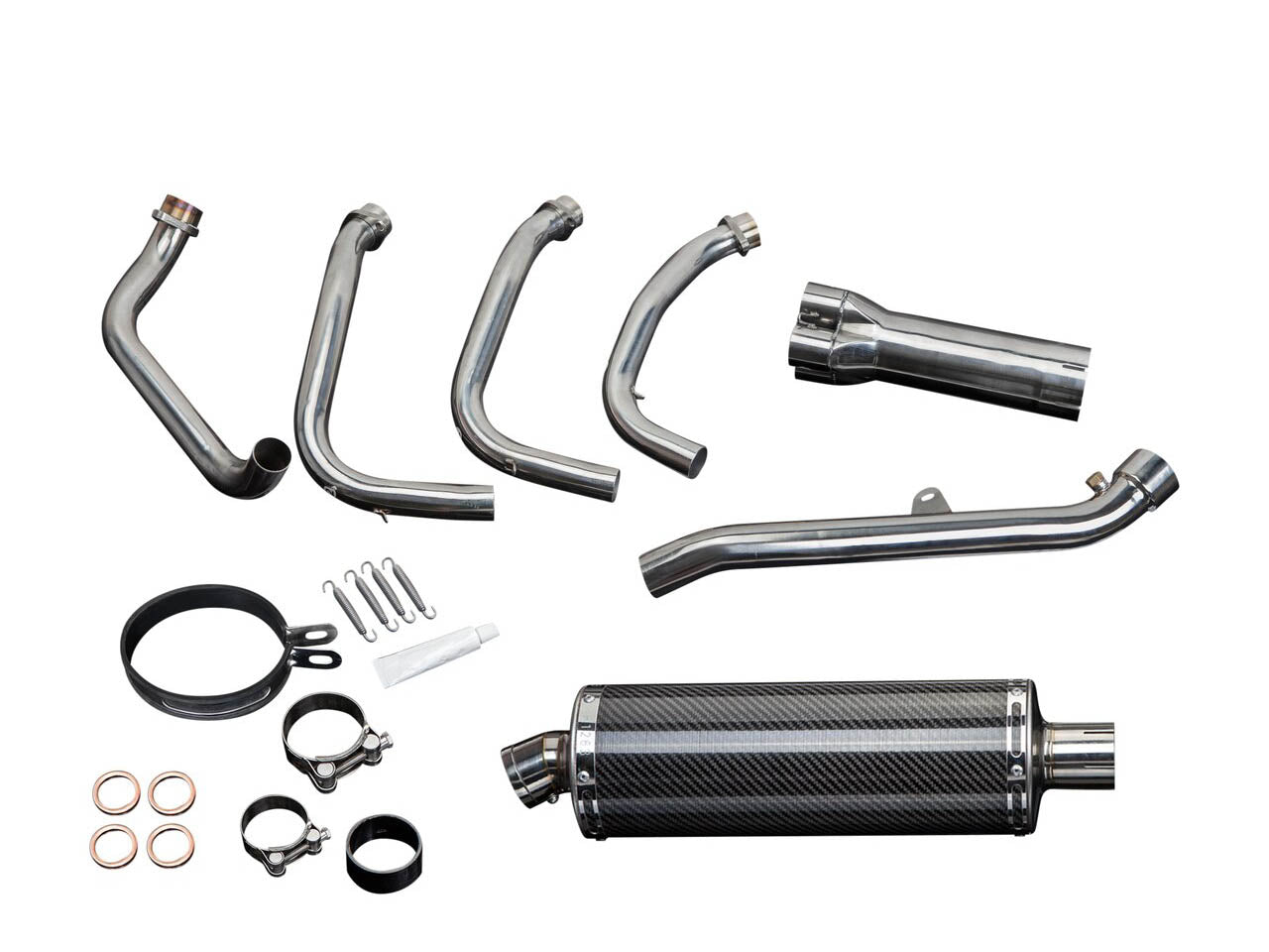 "DELKEVIC Honda CBR1100XX Blackbird Full Exhaust System 4-1 with Stubby 14"" Carbon Silencer"