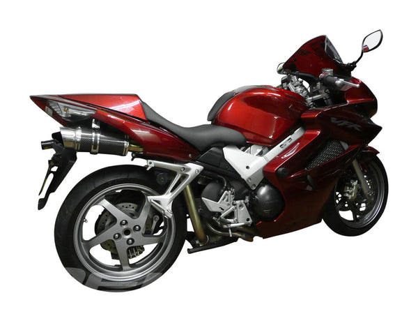 "DELKEVIC Honda VFR800 VTEC Full Exhaust System with Mini 8"" Carbon Silencers"