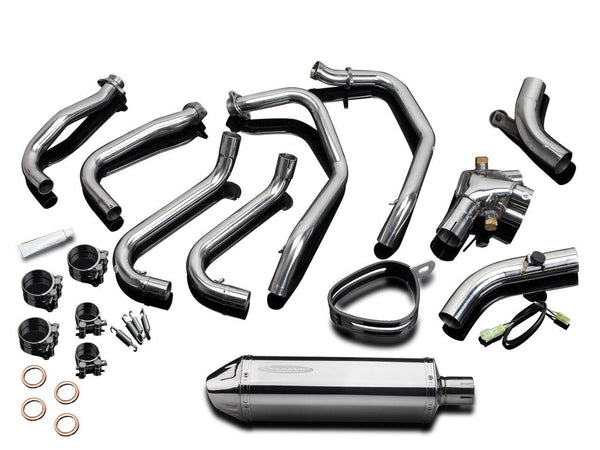 "DELKEVIC Honda VFR800 Interceptor (98/01) Full Exhaust System with 13"" Tri-Oval Silencer"