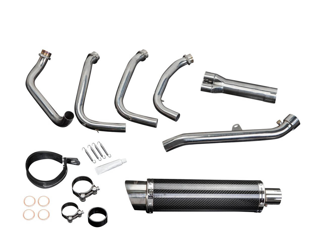 "DELKEVIC Honda CBR1100XX Blackbird Full Exhaust System 4-1 with DL10 14"" Carbon Silencer"