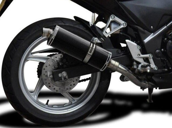 "DELKEVIC Honda CBR250R Full Exhaust System with Stubby 14"" Carbon Silencer"